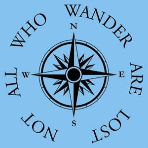 Not All Who Wander Are Lost Compass Logo Decal Home Wall Decor Sticker Black