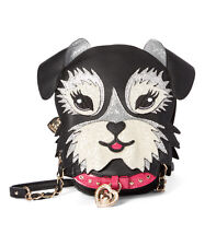 Betsey Johnson Black Fritzy Dog Crossbody Bag   NEW