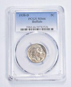 RARE Last Year - MS-66 1938-D Buffalo Nickel - Denver - Tough PCGS Graded *684
