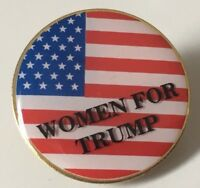 WOMEN FOR TRUMP Round American Flag Lapel Pin USA MADE