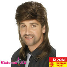 Adult Mens Brown Mullet Wig Fancy Dress Costume Accessory 70s 80s 80's Punk