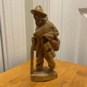 Hand-Carved Wooden Barefoot Traveler Hobo Man w/ Cane Sculpture Figurine