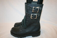 Vtg LEATHER MOTORCYCLE BIKER BOOTS BUCKLES 8 US 41 Euro Engineer Military EUC
