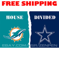 Miami Dolphins vs Dallas Cowboys House Divided Flag Banner 3x5 ft NFL 2019 NEW