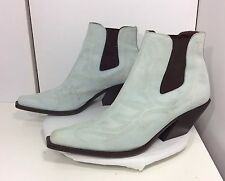 Donald J Pliner Womens 9.5 M Texa Pale Blue Nubuck Leather Stitched Western Boot