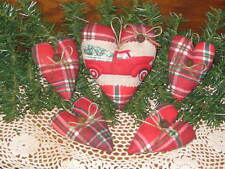 Old Red Truck appliqued Plaid Heart & 4 hearts Country Christmas Wreath making