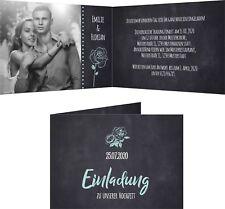 Einladungskarten Hochzeit Hochzeitskarten Vintage Schwarz Aquamarin mit Druck
