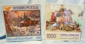 Two 1000-Piece Jigsaw Puzzles Cove Scene and Enchanted Woods Sealed New ages 13+