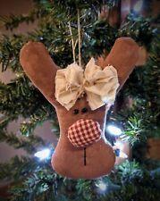 Handmade Primitive Farmhouse Country Christmas Reindeer Ornament Peg Hanger
