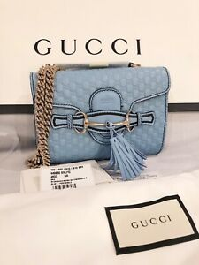 NWT Authentic GUCCI Baby Blue Microguccissima Leather Mini Emily Crossbody Bag