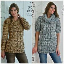 Jersey de manga larga señoras Tejer patrón Capucha Cuello Cable Superior Super Grueso 4069