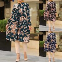 ZANZEA UK Women Vintage Floral Long Sleeve Casual Tops Tunic Muslim Shirt Blouse