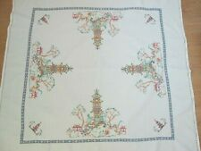 Vintage linen embroidered tablecloth with pagoda design 44 x 44 inches
