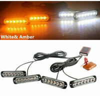24LED Car Strobe Flash Lights  Emergency Warning Flashing Lamp White & Amber
