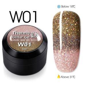 1pcsTemperature Change Glitter Color Gel Polish Thermal Magic Effect Nail w01