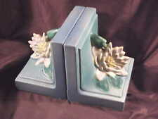 ROSEVILLE POTTERY BOOKENDS,  WATER LILY PATTERN, SHAPE#12, BLUE, MINT, 1943