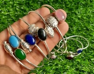 Sale 10 Pcs Natural Adjustable Cuff Bangles Lot Mix Gemstone 925 Silver Plated