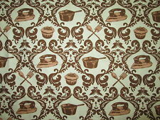 RETRO 50's ITEMS CUPCAKES PANS IRON BAKING COOKING BROWN COTTON FABRIC FQ OOP