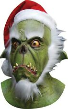 Halloween Christmas THE GRINCH GREEN SANTA Latex Deluxe Mask Haunted House NEW