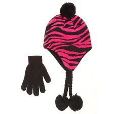 Zebra fleece-lined Hat with Pom-Poms.  & Gloves Set Angora, Multi-Color and S