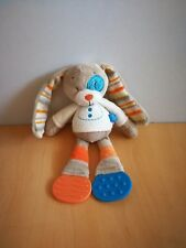 Doudou lapin tex beige ecru orange bleu coccard dentition