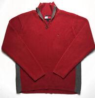 Mens Vintage Tommy Hilfiger Quarter Zip Jumper Large Red/Grey Ribbed Cotton
