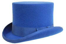qualité bleu roi 100% LAINE CHAPEAU HAUT-DE-FORME fait à la main mariage