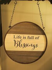 """""""BLESSINGS ROUND"""" Replacement Sign - Wood & Metal Sign for Country Arrow Holders"""