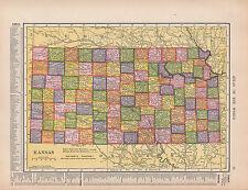1909 Mapa ~ Kansas Reservación India límites condados cities-towns