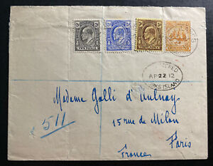 1912 Turks & Caicos Island Registered Cover To Paris France Nice Franking