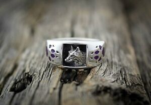 Wolf Ring, Timber Wolf Ring with Sugilite, 925 Sterling Silver, Twilight Wolf