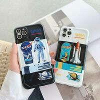 For iPhone 11 Pro Max XR X 7 8 Plus NASA Cool Couple  Astronaut Phone Case Cover