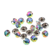 20pcs x 12mm AB White Round Crystal Diamante Faceted Crystal Diamante Buttons