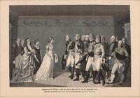 Königin Luise mit Kaiser Alexander I. Begegnung am 10.11.1802 HOLZSTICH von