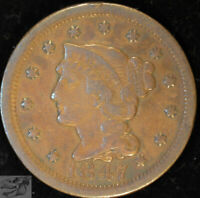 1847 Braided Hair Large Cent, Very Fine Condition, Free Shipping in USA, C5021