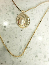 New Shiny Gold plated Necklace faux Blister Pearl Pendant 2 Tiered Strand 18""