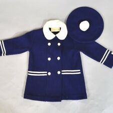 Vtg 1960's Children Jacket Set Navy White Trim Beret Hat Little World Size 3