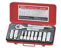 "Genius Tools 13PC 3/8"" Dr. Metric Deep Hand Socket Set - GS-313M"