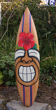 "Happy Tiki Hibiscus Flower tropical Wood Surfboard Wall Plaque Tiki Bar 38"""