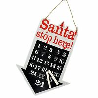 New Christmas Board Advent Calendar with Chalk Countdown Wooden Santa with Chalk
