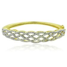 Gold Tone 1/4 Ct Diamond Weave Bangle Bracelet