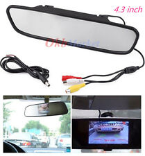 "4.3"" TFT LCD Color Monitor Car Reverse Rear View Mirror for Backup Camera DVD US"