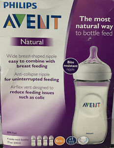 Philips Avent Natural Baby Bottle, Clear, 11Oz, 4Pk, Scf016/47- New