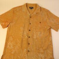 St. John's Bay 100% Silk Floral Orange Cream Shirt Hawaiian Shirt Men's Large