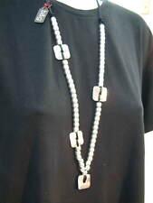 Stringa Collana-PERLINE Lungo Stile con medaglioni di Metallo da promette Y GARCIA NUOVO