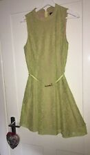 OASIS lime yellow green floral lace skater dress Size 8 spring wedding races VGC