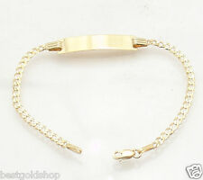 """5.5"""" Baby Childrens KIDS ENGRAVABLE ID CURB CUBAN BRACELET REAL 10K YELLOW GOLD"""