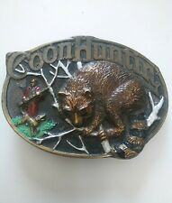 1985 COON HUNTING BELT BUCKLE MADE IN THE USA