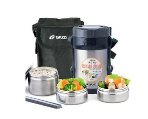 Stainless Steel Insulated Metal Lunch Box Thermos Food Jar w/ Shoulder Lunch Bag