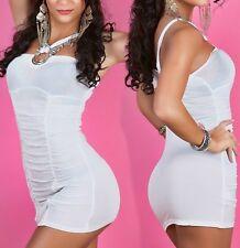 SeXy Miss Damen Gogo Mini Kleid Party Dress gerafft Ringe 34/36/38 TOP weiß NEU
